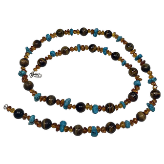 """Turquoise, Amber, and Tiger's Eye 27 1/2 """" Beaded Necklace"""