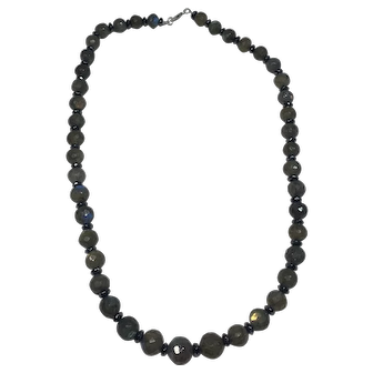 Labradorite and Faceted Hematite Beaded Necklace