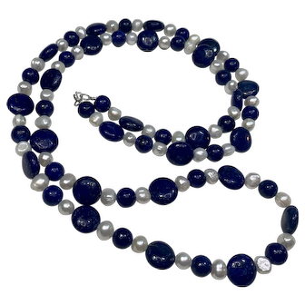 Cultured Pearl, Lapis Lazuli Coin and Round Bead 34 inch Necklace