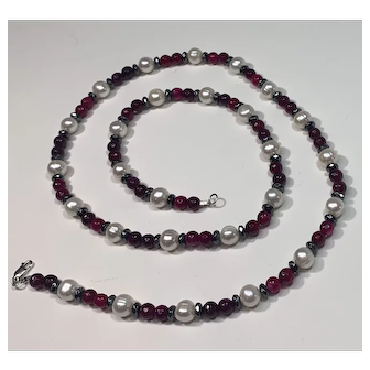 Garnet, Cultured Pearl and Hematite 29 inch Necklace