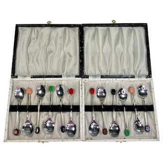 Twelve Vintage EPNS Silver-plate Demi Coffee Spoons  with Bakelite Coffee Beans in Original Boxes