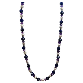Lapis Lazuli with Amethyst Rondelle  Beads , Grey Cultured Pearls and Hematite Rondelle Necklace 28 Inches Long