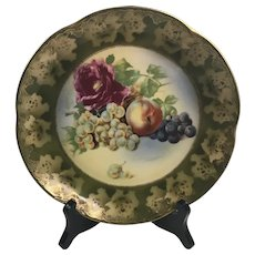 Alice Bavaria JHR Hutschenreuther Porcelain Plate Hand Painted FRUIT AND ROSE