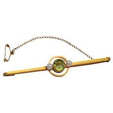 Victorian Peridot Pearl 15k Brooch
