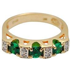 Emerald Diamond Gold Half Eternity Ring