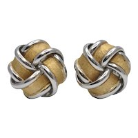 18k Yellow & White Gold Knot Stud Earrings