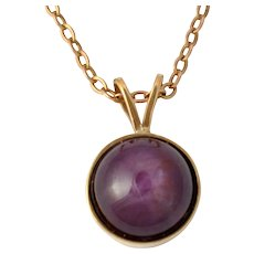 Star Ruby Cabochon Gold Pendant