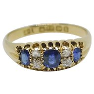 Edwardian Sapphire and Diamond 18K Gold Band Ring