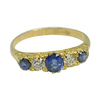 Antique Victorian Sapphire Diamond 18k Gold Band Ring