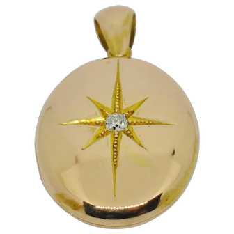 Victorian 15k rose gold & diamond locket