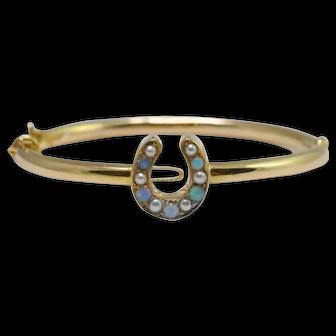 Victorian Opal, Pearl and 18k Gold Horseshoe Bangle