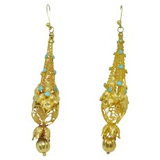 Victorian 18k Gold Cannetille Turquoise Earrings