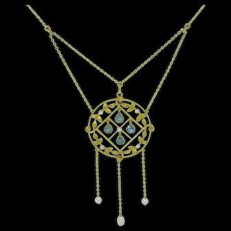 Edwardian Aquamarine, Pearl and 15k Gold Pendant