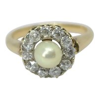 Antique Pearl Diamond Cluster 18k Gold Ring