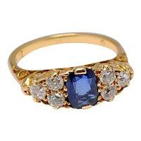 Victorian Sapphire Diamond 18k Gold Ring