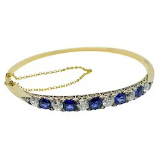 Antique Victorian Sapphire Diamond 18k Gold Bangle