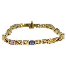 Multi Coloured Sapphire 18K Gold Bracelet