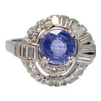 Mid Century Sapphire Diamond 14k Gold Ring