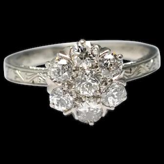 Diamond Cluster 18k Gold Engagement Ring