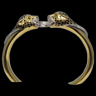 18k Gold Diamond Enamel Leopard Bangle