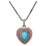 Victorian Turquoise Diamond Enamel 15k Gold Heart Locket