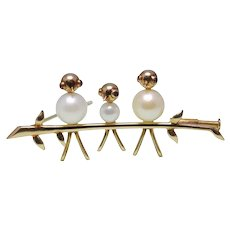 3 Birds on a Branch Cultured Pearl 18k Gold Brooch