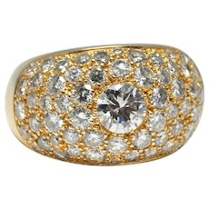 Diamond 18k Gold Bombé Ring