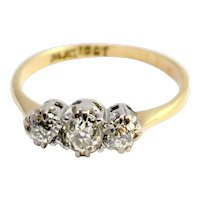 Edwardian Diamond 18k Gold Platinum Engagement Ring