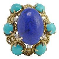 Turquoise Lapis Lazuli Diamond 14k Gold Ring
