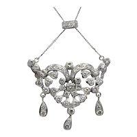 Mid Century Diamond White Gold Necklace