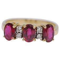 Ruby Diamond Three Stone 18k Gold Ring