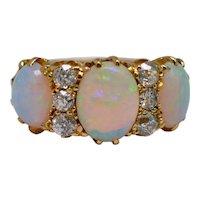 Victorian Opal Diamond 18K Gold Ring