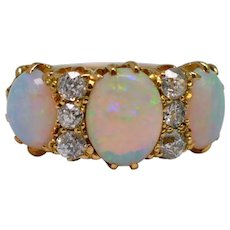 Victorian Opal Diamond 18K Gold Ring