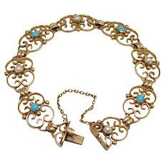 Victorian 15k Gold Pearl Turquoise Bracelet
