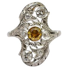 1920s Certified Fancy Yellow Diamond Platinum Ring