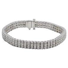 Diamond 3 Row 18k White Gold Bracelet