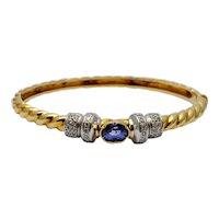Sapphire Diamond 18k Gold Bangle