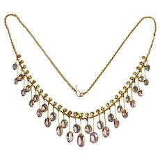 Antique Victorian Gem Set Fringe Gold Necklace