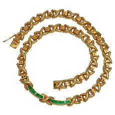 Heavy 18k Gold Emerald Necklace