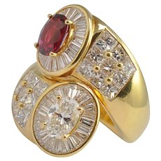 Ruby Diamond 18k Gold Crossover Ring