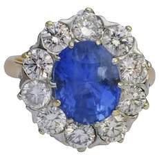 Certified Sri Lankan Sapphire Diamond 18k Gold Ring