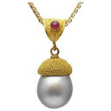 South Sea Pearl Ruby and Gold Pendant