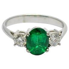 Emerald Diamond Gold Trilogy Ring