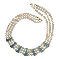 Leo de Vroomen Pearl Gold Enamel Necklace