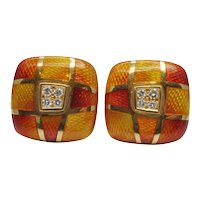 Leo de Vroomen Enamel Diamond Gold Earrings