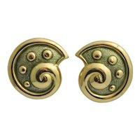 Leo de Vroomen 18k Gold Green Enamel Shell Earrings