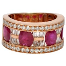 Ruby and Diamond Gold Band Ring