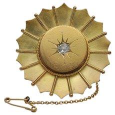 Victorian Diamond and Gold Sunshine Brooch