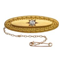 Victorian Diamond and 15k Gold Brooch