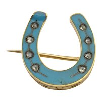 Victorian Enamel and Diamond Horseshoe Brooch